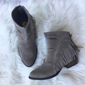 Taupe Fringe Booties Ankle Yellow Box NWOT